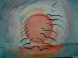 drawing birds orange sun 1
